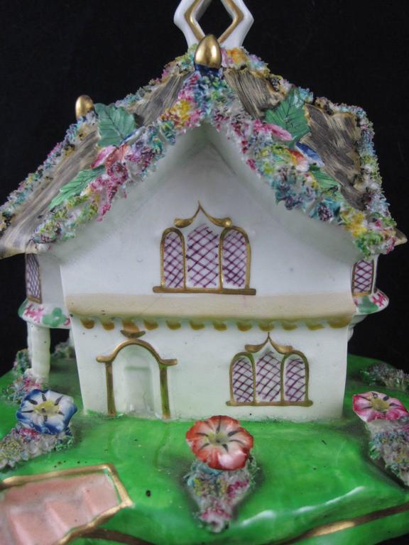 19th Century Staffordshire Cottage Form Pastille Burner At