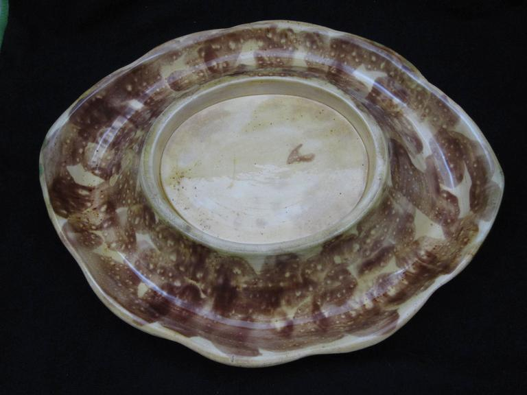 19th Century English Majolica Wheat Motif Cobalt Blue Rolled Rim Bread Tray For Sale 3