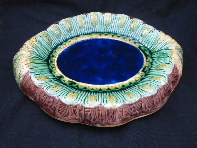 Earthenware 19th Century English Majolica Wheat Motif Cobalt Blue Rolled Rim Bread Tray For Sale