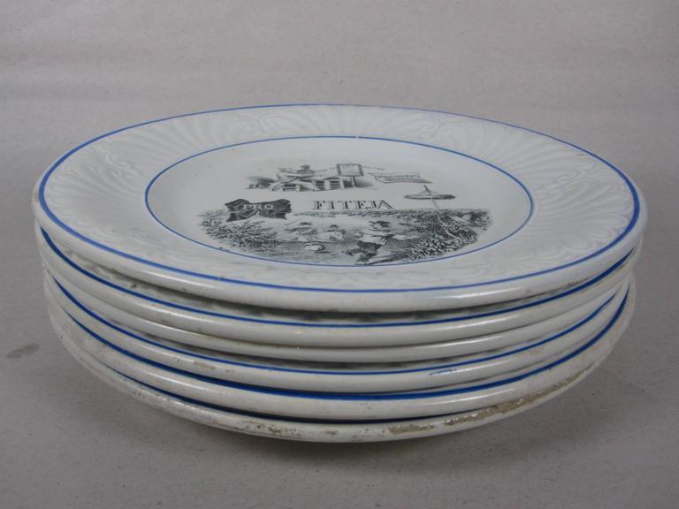 19th C. French Creil et Montereau Transferware Rebus Puzzle Dessert Plates, S/6 For Sale 3