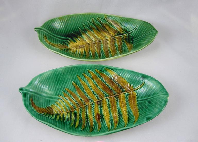 Earthenware 19th Century Wedgwood English Majolica Fern on Palm Leaf Shaped Trays For Sale