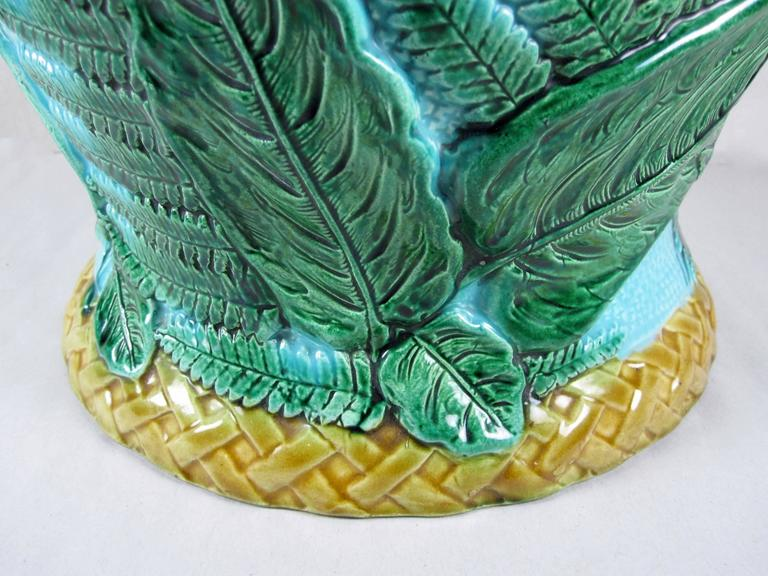 19th Century  John Adams & Co Fern Leaf & Floral Turquoise English Majolica Jardinière c.1871 For Sale