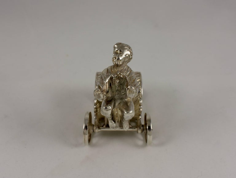 Silver Victorian Era Aesthetic Movement Figural Napkin Ring, Boy Pulling a Cart For Sale 2