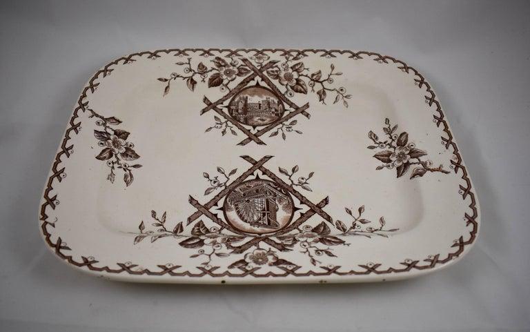 Earthenware 19th Century Staffordshire Aesthetic Movement Transferware Platter, 'Alaska' For Sale