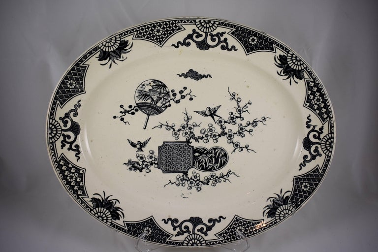 Earthenware 19th Century Staffordshire Aesthetic Movement Transferware Platter, 'Formosa' For Sale