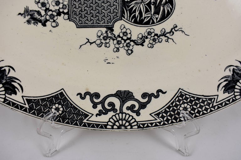 Glazed 19th Century Staffordshire Aesthetic Movement Transferware Platter, 'Formosa' For Sale