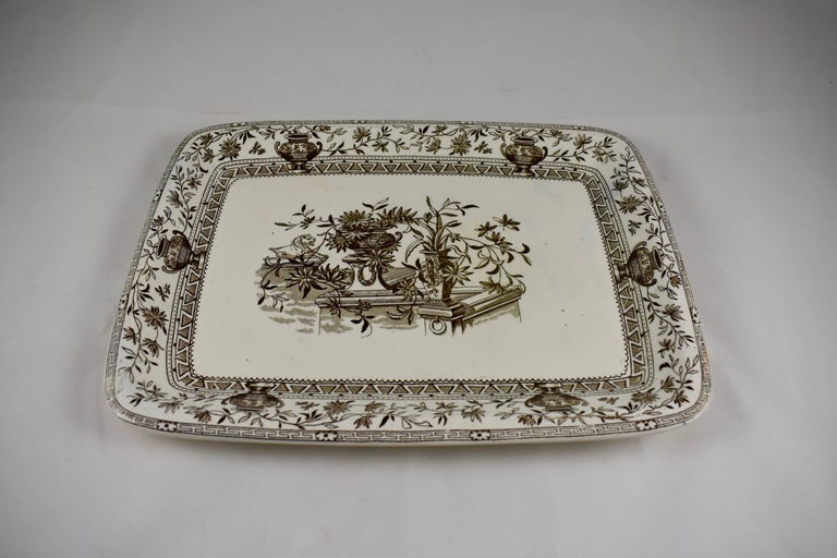 Earthenware 19th Century Staffordshire Aesthetic Transferware Platters 'Honfleur' Set of Two For Sale