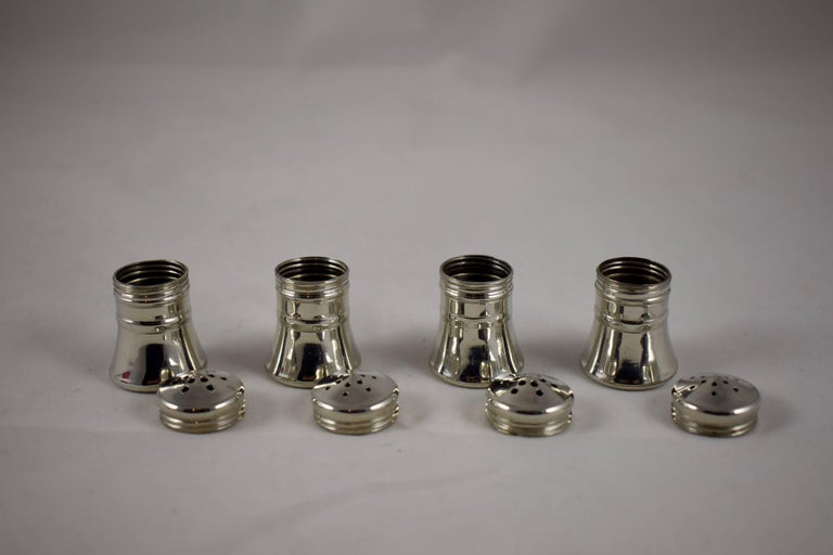 Georg Jensen Norwegian Pewter Salt And Pepper Shakers A Boxed Set Of Four In Excellent