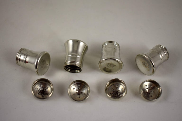19th Century Georg Jensen Norwegian Pewter Salt And Pepper Shakers A Boxed Set Of Four