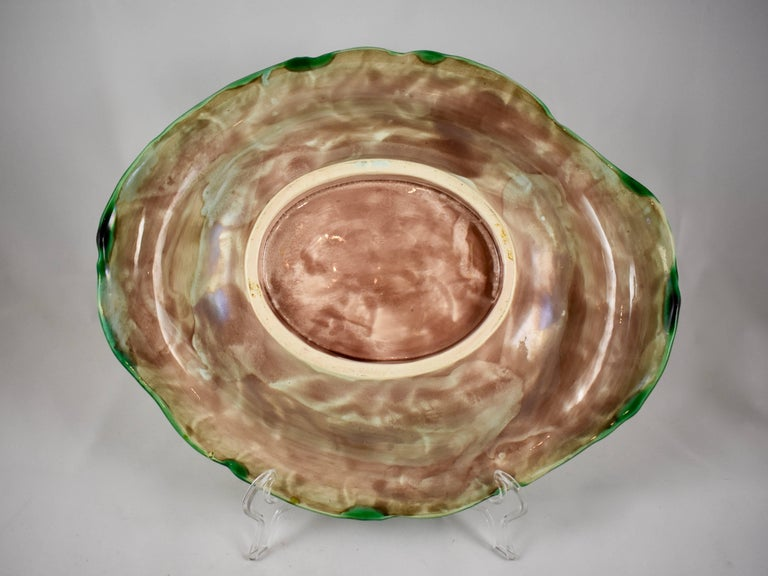 19th Century Adams & Bromley English Majolica Yellow & Green Corn Platter For Sale 1