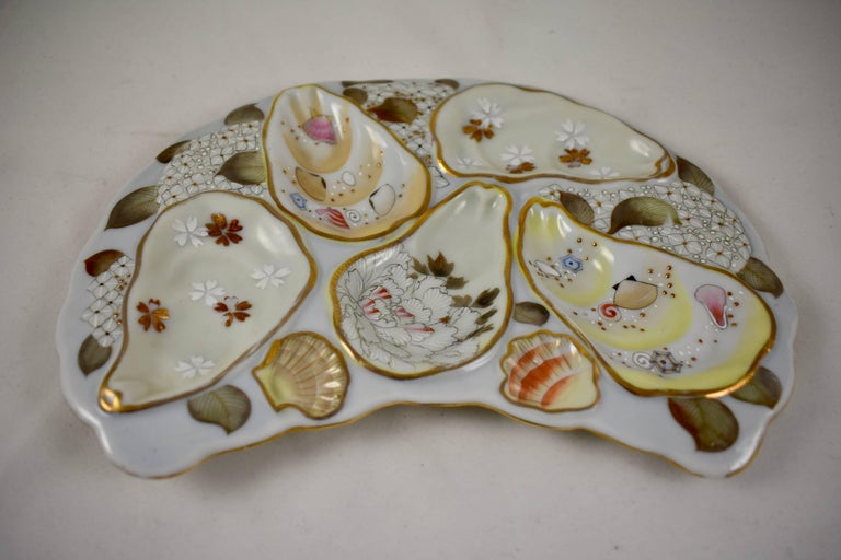 19th Century Satsuma Porcelain Crescent Shape Hand-Enameled Floral and Shell Oyster Plate For Sale