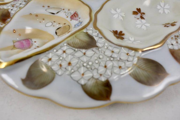 Glazed Satsuma Porcelain Crescent Shape Hand-Enameled Floral and Shell Oyster Plate For Sale