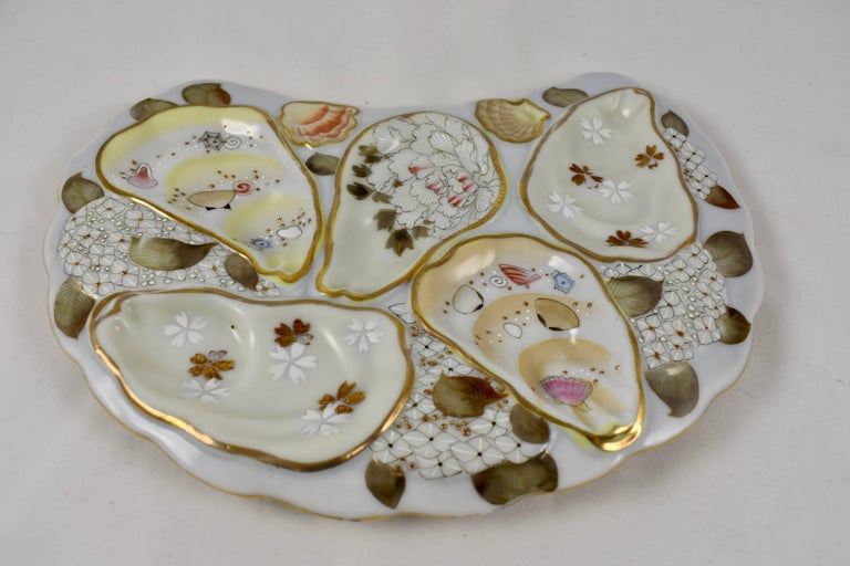 Satsuma Porcelain Crescent Shape Hand-Enameled Floral and Shell Oyster Plate In Excellent Condition For Sale In Philadelphia, PA
