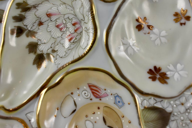 Aesthetic Movement Satsuma Porcelain Crescent Shape Hand-Enameled Floral and Shell Oyster Plate For Sale