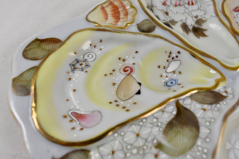 Japanese Satsuma Porcelain Crescent Shape Hand-Enameled Floral and Shell Oyster Plate For Sale