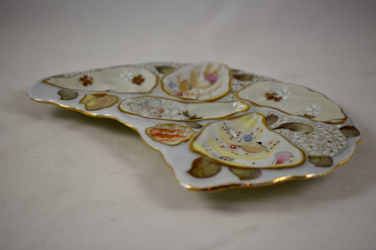 Satsuma Porcelain Crescent Shape Hand-Enameled Floral and Shell Oyster Plate For Sale 1