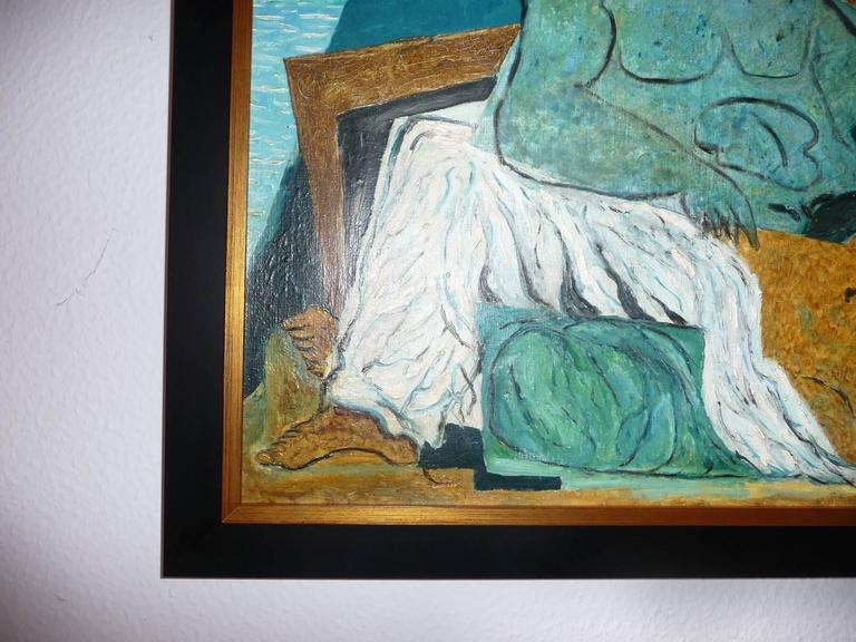 Clichy Oil On Canvas Marine God With Bather At 1stdibs