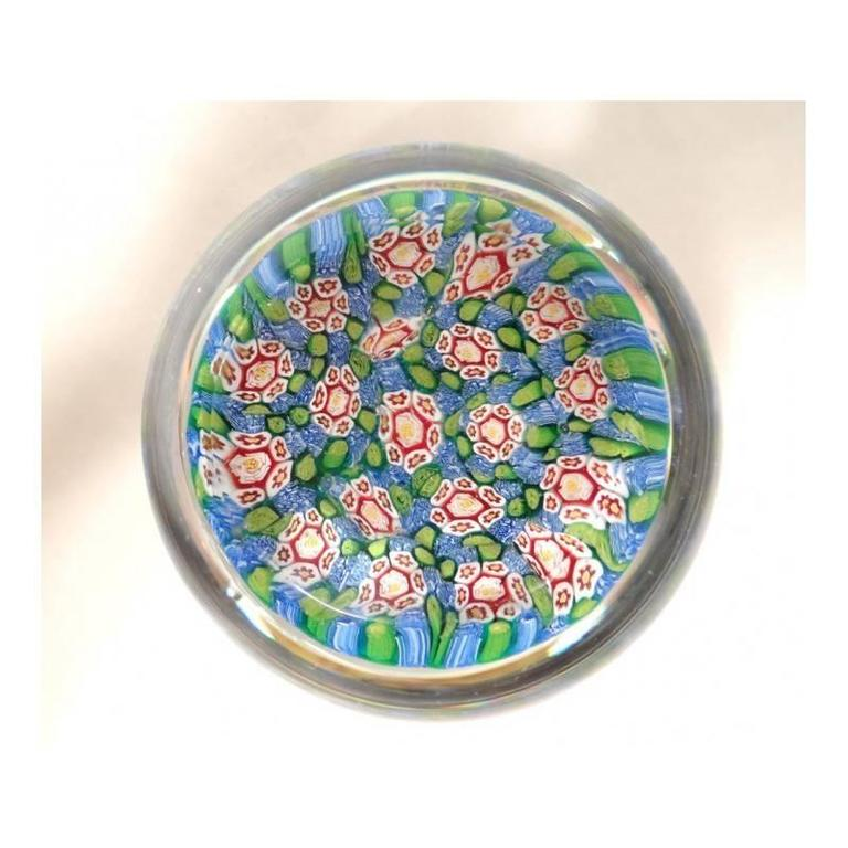 Old paperweight of Murano (Venice, Italy) Millefiori with rose flowers yellow, red and white on green and blue background. Beautiful object.  Free shipping.