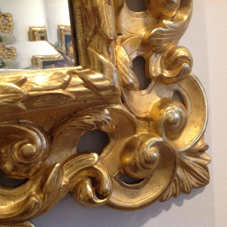 Gilded baroque wooden mirror 19th century for sale at 1stdibs for Gilded baroque mirror