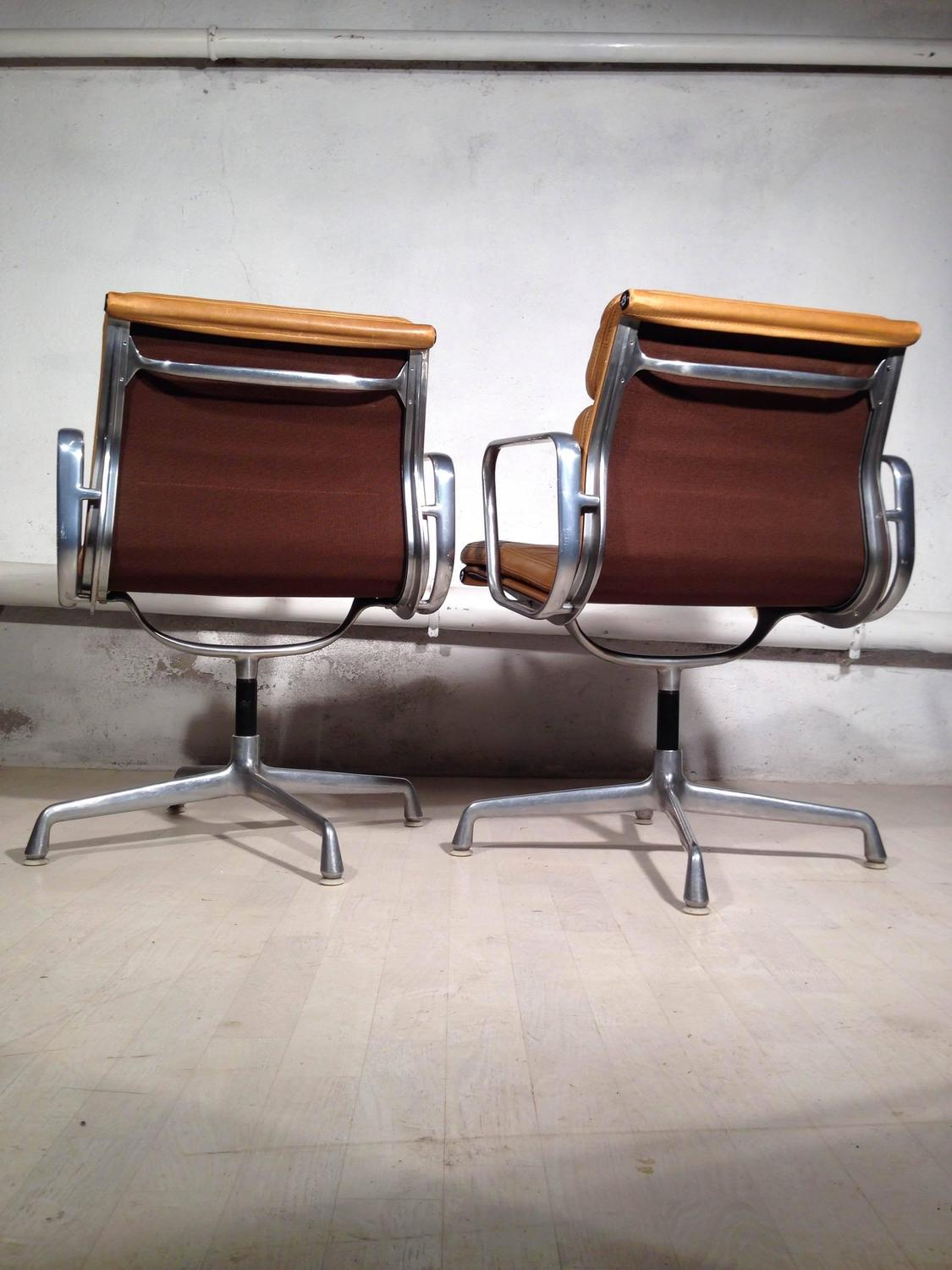 Pair of armchairs soft pad eames herman miller vintage at 1stdibs - Herman miller vintage ...