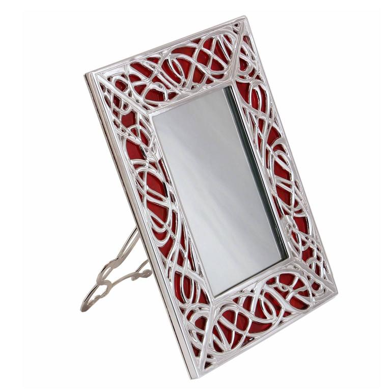 Art Nouveau Italian Silver Bronze and Red Murano Glass Illumination Red   For Sale