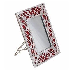 Art Nouveau Italian Silver Bronze Picture Frame Venetian Glass