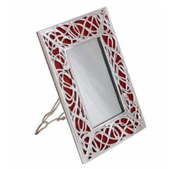 Art Nouveau Italian Silver Bronze and Red Murano Glass Illumination Red