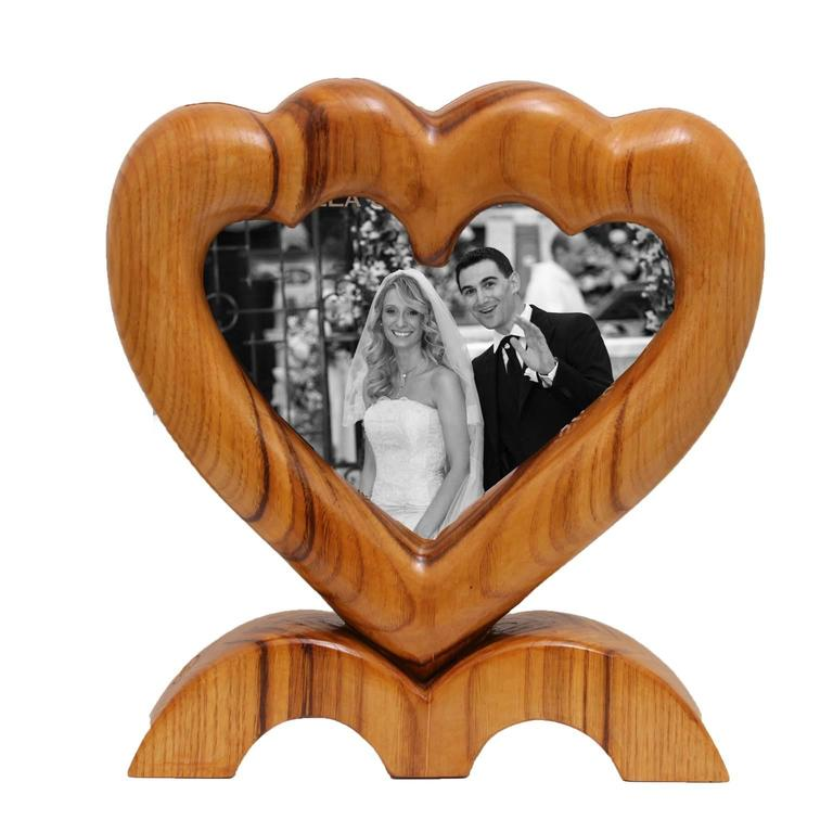 Arts and Crafts Large Italian Wood Double Picture Frame, Double Heart   For Sale