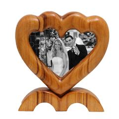 Arts and Crafts Large Italian Wood Double Picture Frame, Double Heart