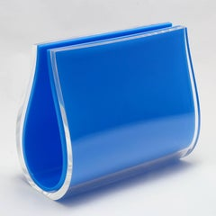 Large Double Picture Frame in  Blue and Clear Plexiglass, Will Plexi Blue