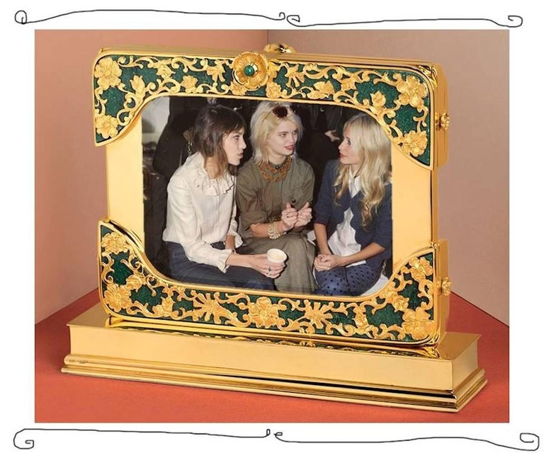 21 Century Gilt Silver Floral Double Photo Frame, Reflection For Sale 2