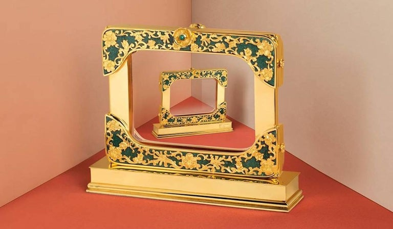 21 Century Gilt Silver Floral Double Photo Frame, Reflection For Sale 3