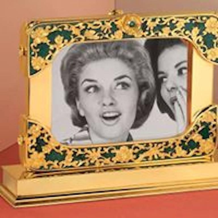 21 Century Gilt Silver Floral Double Photo Frame, Reflection For Sale 4