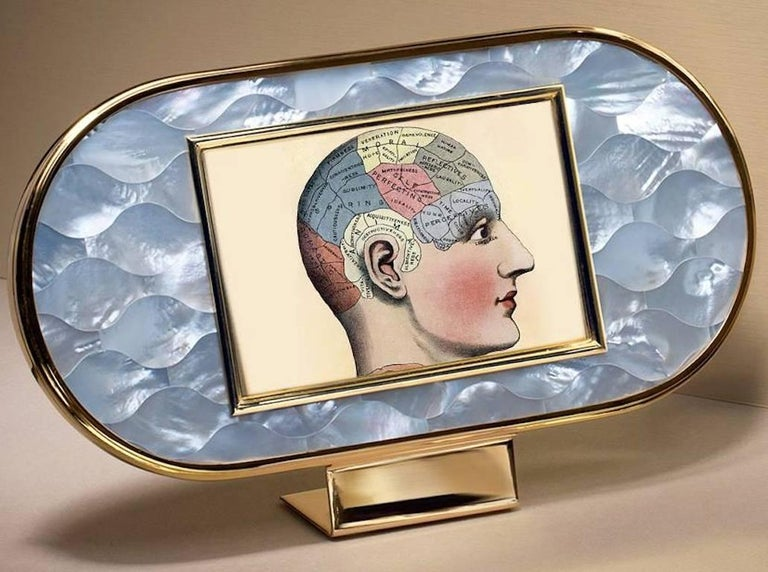 Art Deco Gilt Silver and Mother of Pearl Mosaic Frame, Wisdom  In Excellent Condition For Sale In Sarezzo, IT