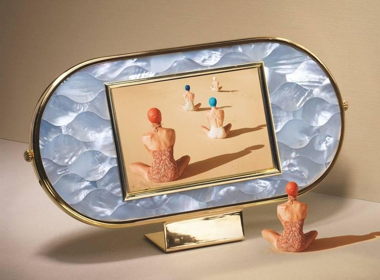 Contemporary Art Deco Gilt Silver and Mother of Pearl Mosaic Frame, Wisdom  For Sale