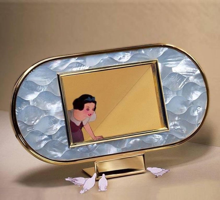 Art Deco Gilt Silver and Mother of Pearl Mosaic Frame, Wisdom  For Sale 1