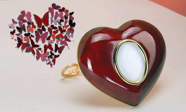 Arts and Crafts Italian Gilt Enamelled Silver Picture  , Laura G Heart Ruby   For Sale 2