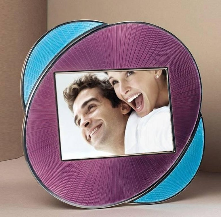 Italian Oval Silver Picture Frame Lilac and Turquoise Enamels, Vitality Lilac  7