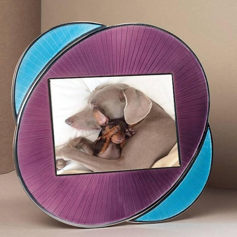 Italian Oval Silver Picture Frame Lilac and Turquoise Enamels, Vitality Lilac  8