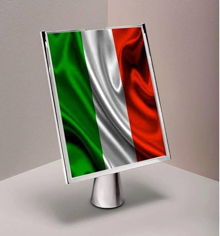 Italian Large Artisanal Silver Picture Frame with Pink Enamels, Patience Pink  9
