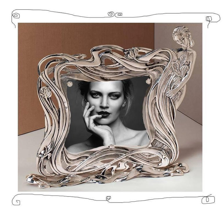 Italian Art Nouveau Handcrafted  Silver Picture Frame, Kindness For Sale 2