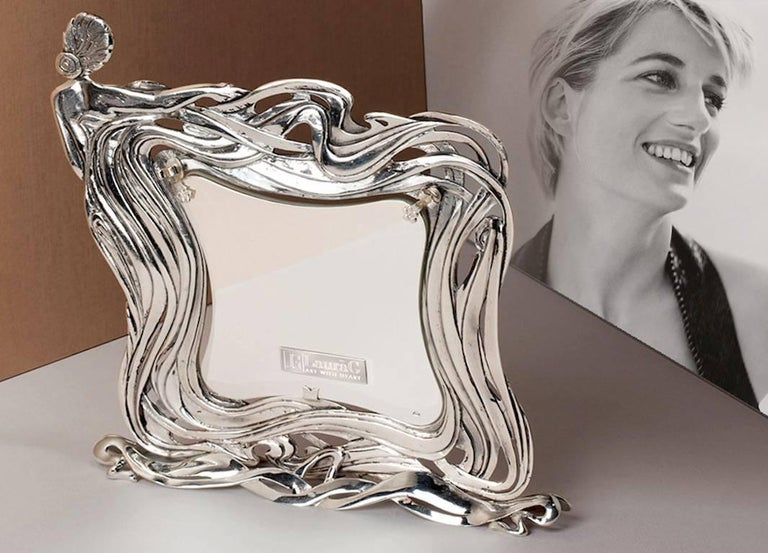 Italian Art Nouveau Handcrafted  Silver Picture Frame, Kindness For Sale 5