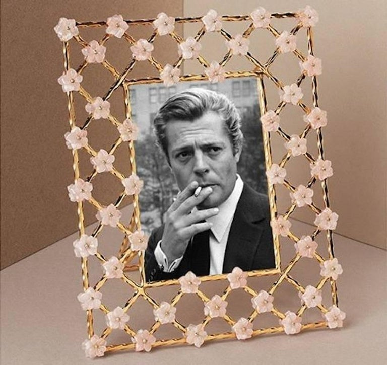 Contemporary Vintage Gilt Silver Floral Frame with Pink Quartz Flowers, Gratitude  For Sale