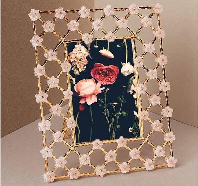 Vintage Gilt Silver Floral Frame with Pink Quartz Flowers, Gratitude  For Sale 2
