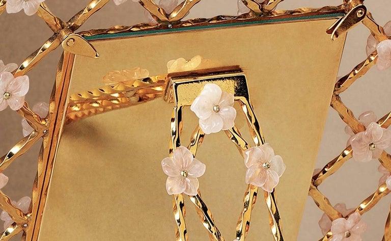Vintage Gilt Silver Floral Frame with Pink Quartz Flowers, Gratitude  For Sale 4
