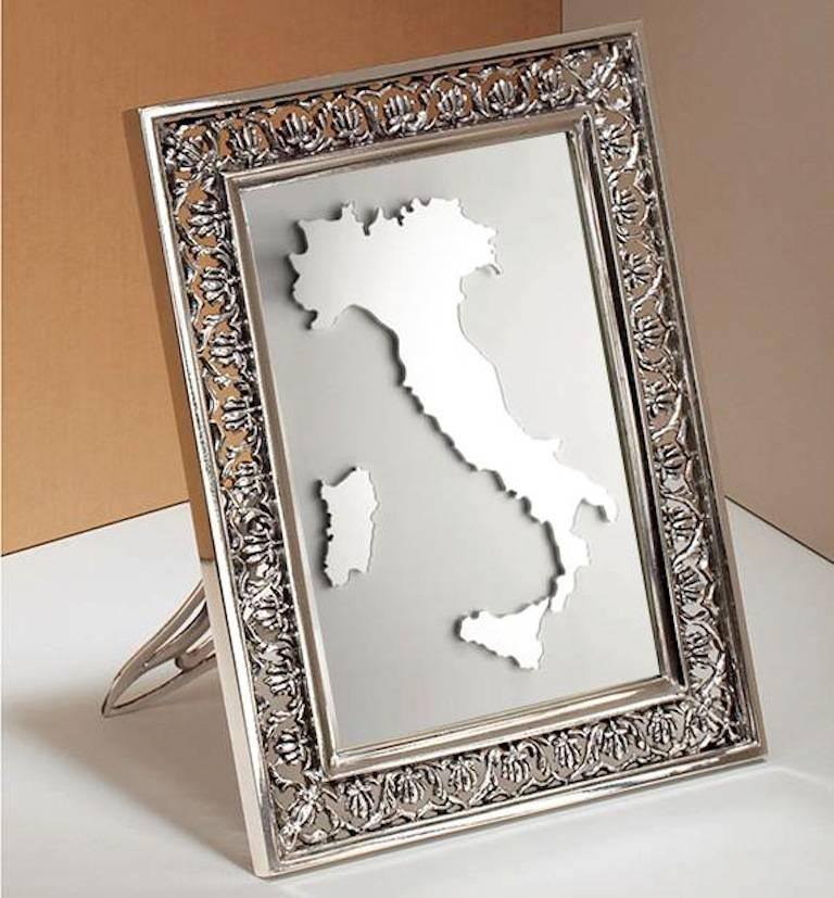 Arts and Crafts Italian  Silver Handmade Picture Frame, Trust  For Sale 1