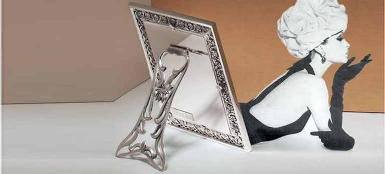 Arts and Crafts Italian  Silver Handmade Picture Frame, Trust  For Sale 2