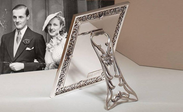 Arts and Crafts Italian  Silver Handmade Picture Frame, Trust  For Sale 3