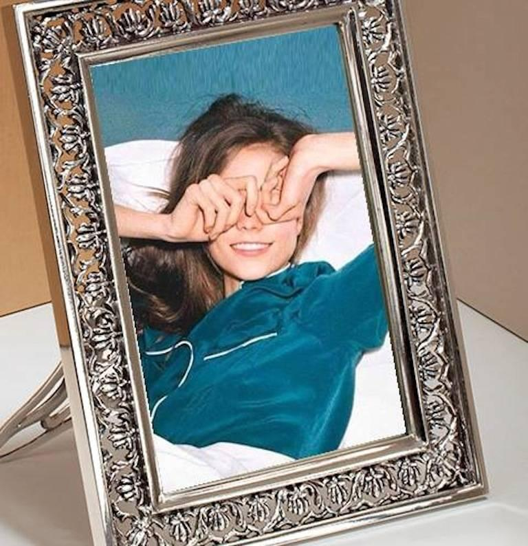 Arts and Crafts Italian  Silver Handmade Picture Frame, Trust  For Sale 5