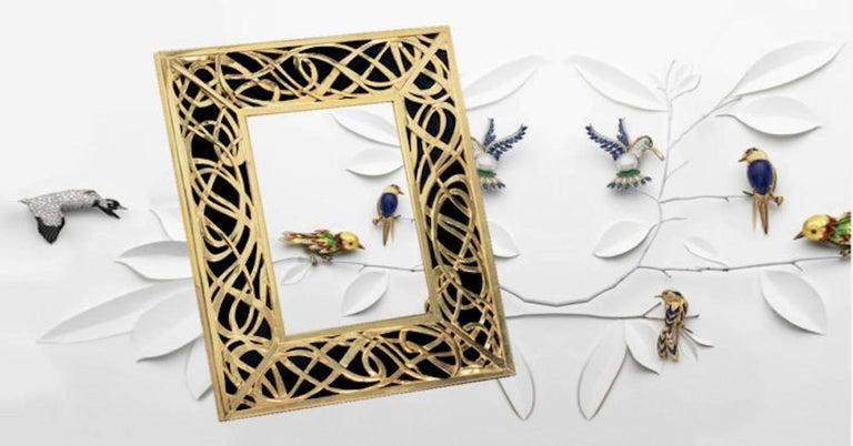 Italian Art Nouveau Gilt Silver Frame with Black Marble, Illumination  For Sale 6